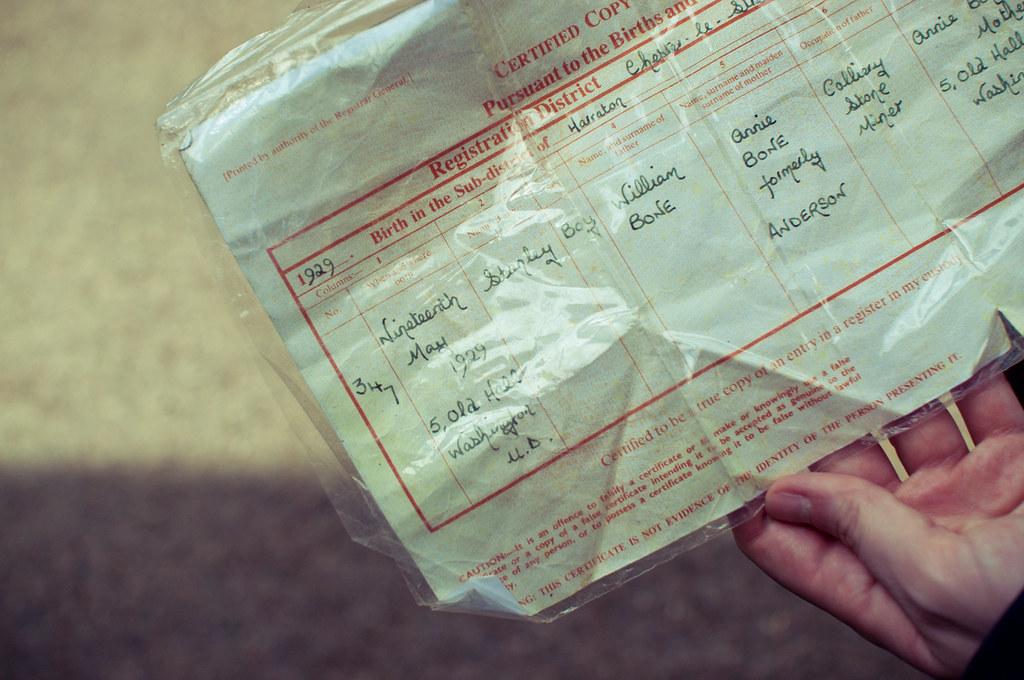 washington birth certificate stanley adam