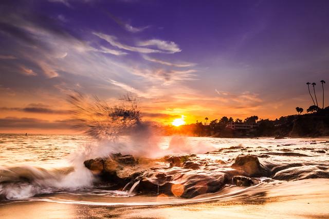 Splashing water with sunset in Laguna Beach