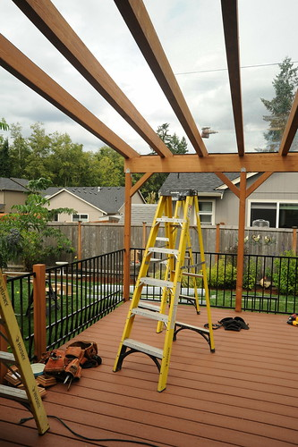 Project in process, ladder, tool belt, porch beams, Olympia, Washington, USA | by Wonderlane