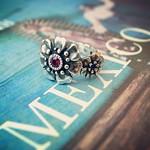 It Walks Both Ring/合成ルビー×合成サファイア #flower #stone #silver #ring #メキシコ#リング#指輪#mexico #誕生石