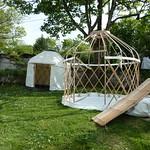 Setting up some mini yurts