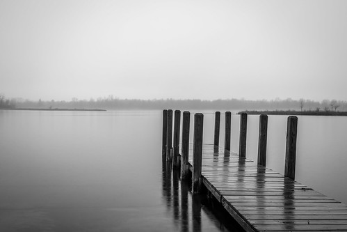 lake orion water mist monochrome landscape serene dock rain cloudy oaks park michigan
