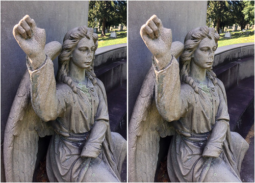 cameraphone urban sculpture art angel stereoscopic stereophotography 3d crosseye troy upstate upstateny handheld chacha hdr troyny iphone oakwoodcemetery 3dimensional crossview crosseyedstereo 3dphotography sitespecificart 3dstereo