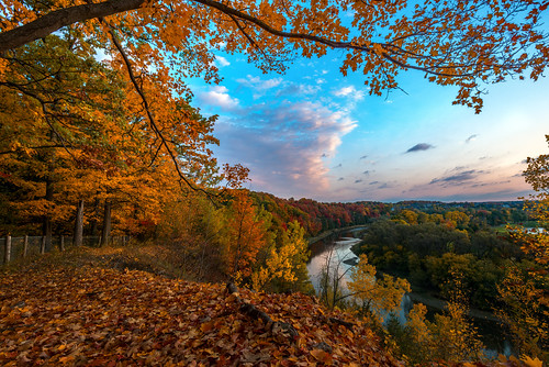 autumn colour homer watson park fall sunrise trees leaves sky clouds landscape outdoor kitchener ontario canada river water stream