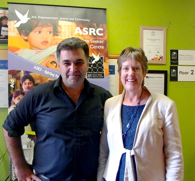 Kon Karapanagiotidis, founder of the Asylum Seeker Resource Centre in Melbourne, with Senator Penny Wright.