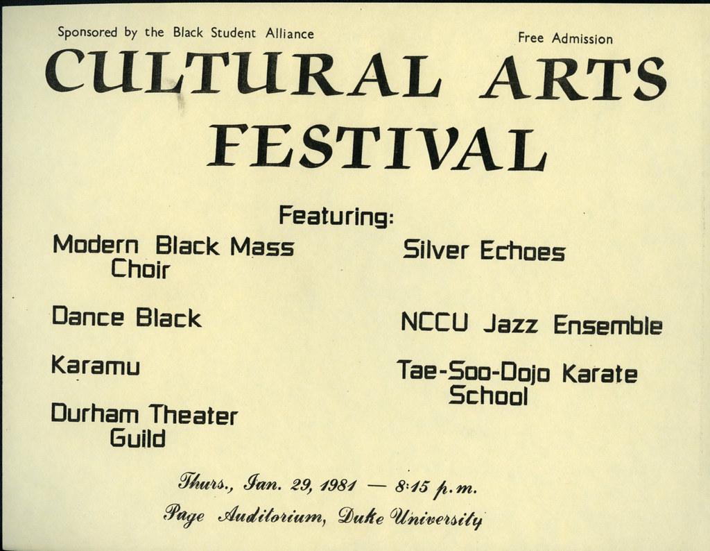 Cultural Arts Festival Flyer, January 29, 1981   Box 3   Duke