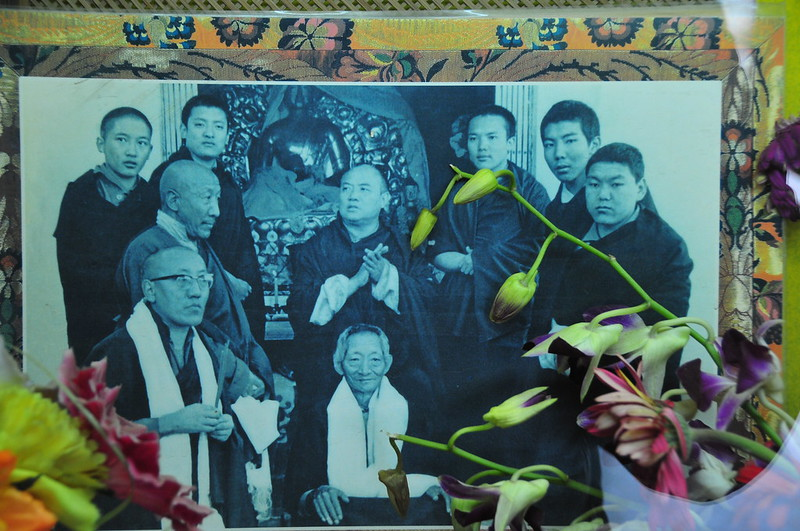 Picture of the 16th Karmapa, and other high Rinpoches, such as the 14th Kunzig Shamar Rinpoche and Kalu Rinpoche...Picture can be found at the foot of Svayambhū Stūpa next to one of the bigger prayer wheels.