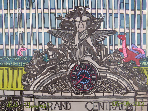 Grand Central Station with 2 Fantasy Dragons (30 x 40 acrylic on canvas)