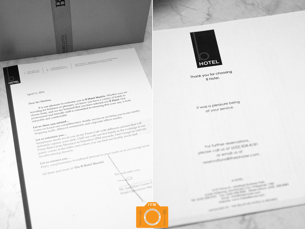 B Hotel welcome letter | Food Reviews Manila | Flickr