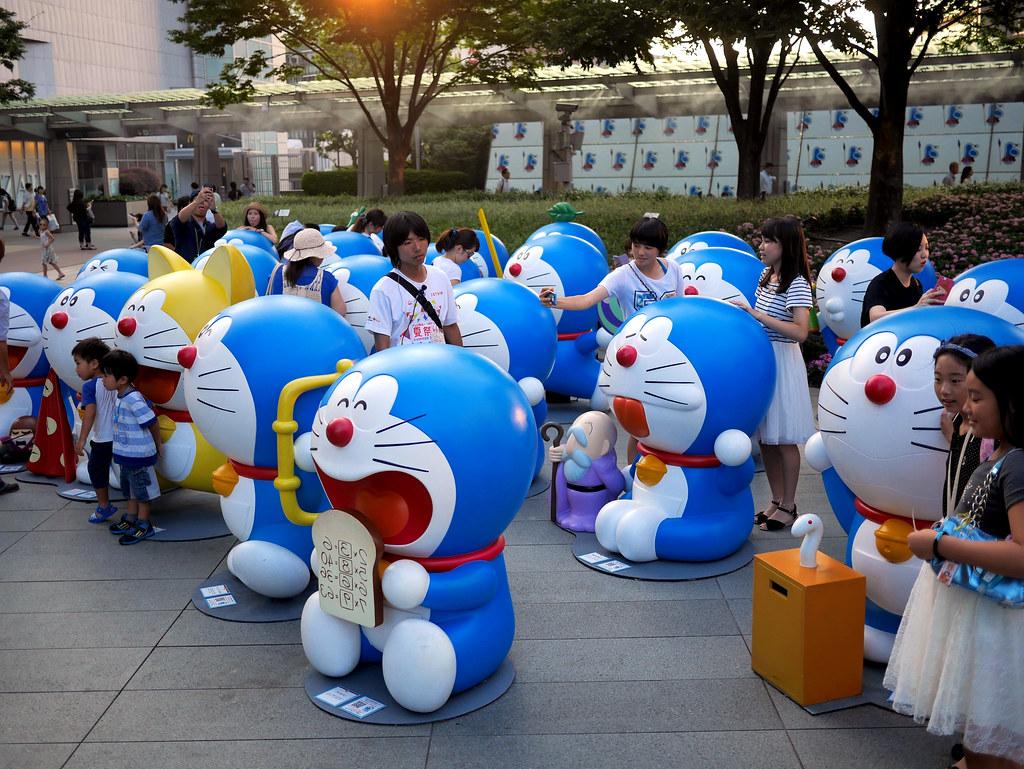 several statues of Japanese famous anime character, Doraemon