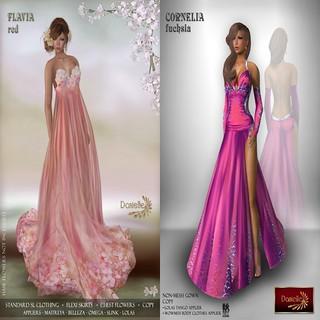 Danielle flavia red & Cornelia fuchsia