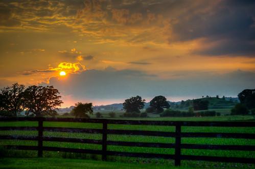 sunset fence landscape corn scenery farm il lakewood