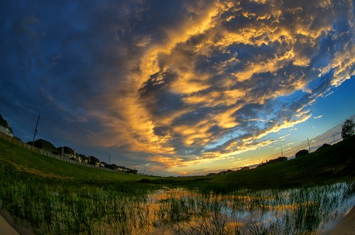 sunset reflection clouds texas katy dusk bayou wetland katytexas orangeclouds