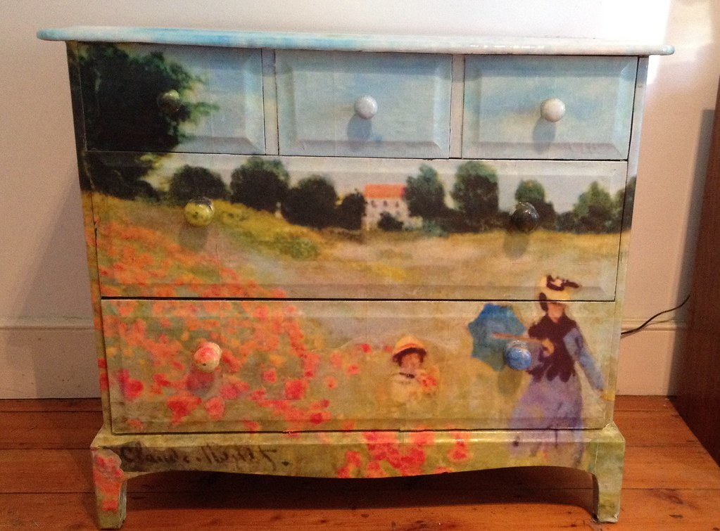 Decoupage Furniture Chest Of Drawers Dresser Monet 2 Flickr