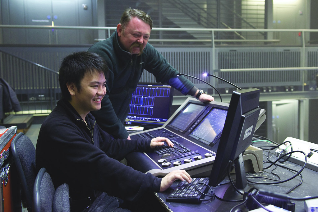 Jun Chan, Technical Theatre Apprentice, and Martin Adams, Linbury Theatre Technical Manager © ROH/Sim Canetty-Clarke, 2013
