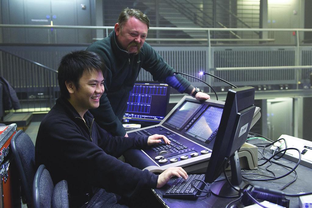 Jun Chan, Technical Theatre Apprentice, and Martin Adams, Linbury Theatre Technical Manager ? ROH/Sim Canetty-Clarke, 2013