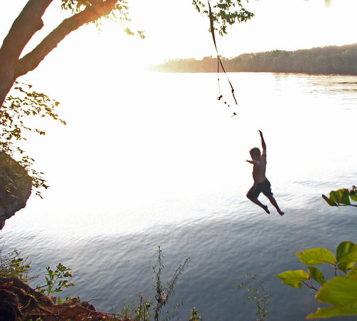 county summer lake youth swim river landscape landscapes fly jump rocks tennessee father alabama son wheeler morgan bluff ropeswing bluffcity