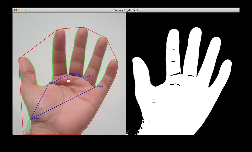 Hand tracking with convex hull, convexity defect, and cent