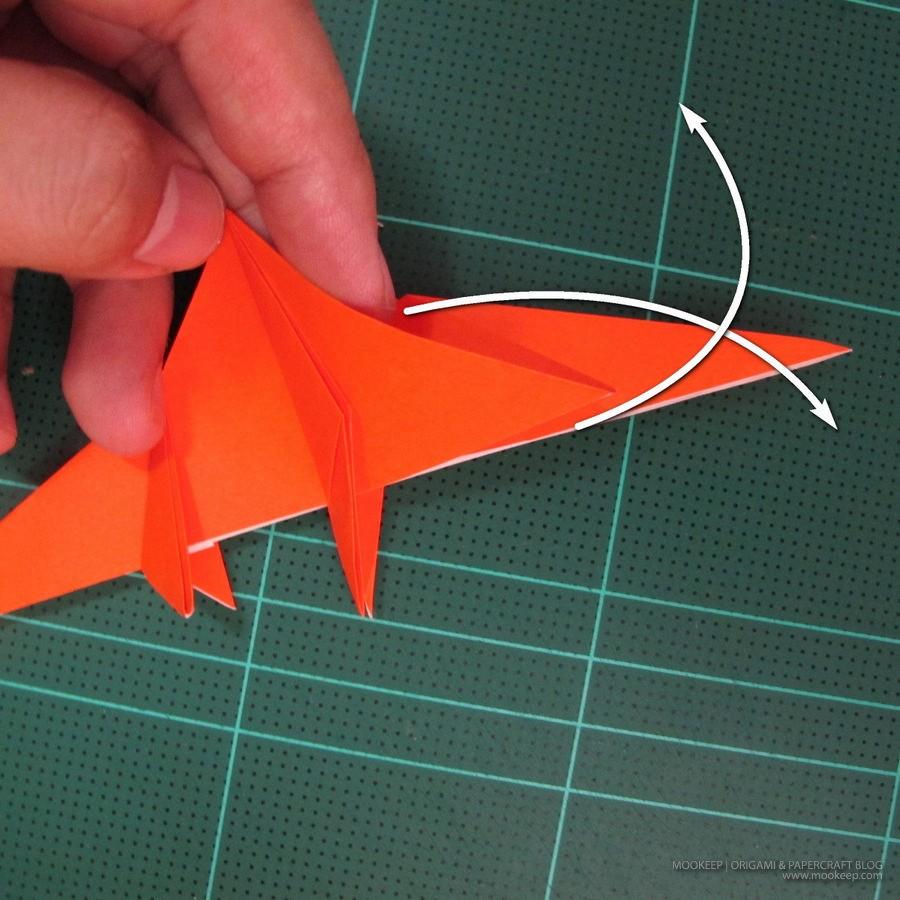 วิธีการพับกระดาษเป็นรูปไดโนเสาร์ (Origami Dinosaur) 013