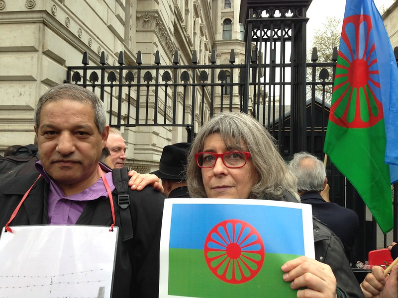 Outside 10 Downing Street, handing in letter asking for Roma representation on David Cameron's newly formed Holocaust Commision