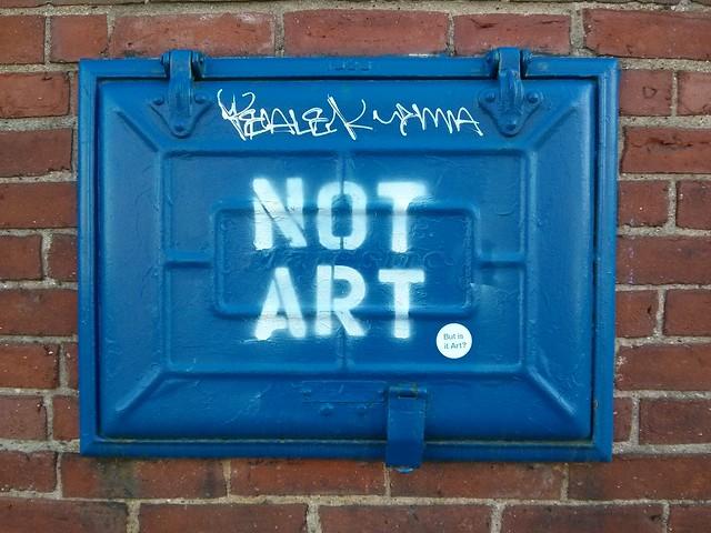 Not Art (But is it Art?) (stencil & sticker on hatch)