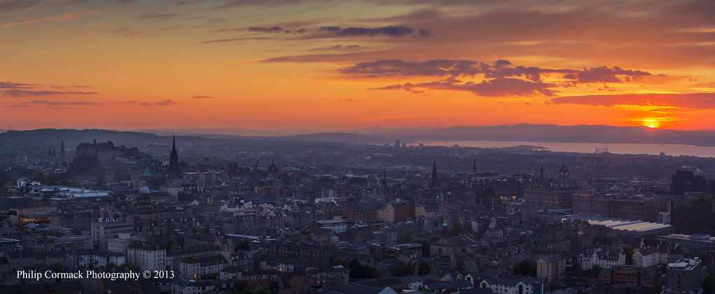 Panoramic View Overlooking Edinburgh at Sunset