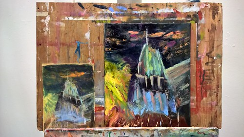 Abstraction of the Empire State Building from a pastel to oils | by zedshaw