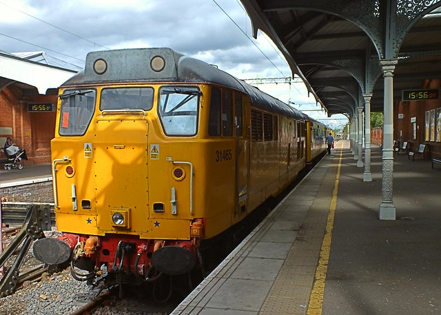 31465 at Hertford East, with the Network Rail Test Train. 21 08 2014