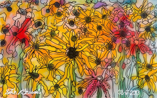 Many of Black-Eyed Susans with Red Cardinals (48 x 30 spraypaint on canvas)