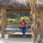 Emily in a beach hut