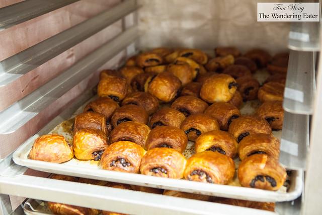 Freshly baked mini chocolate croissants