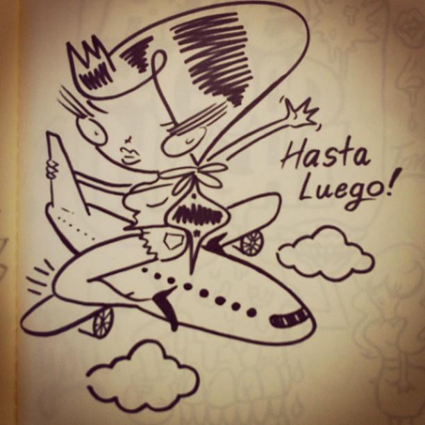 Doodledrawingsketchbookairplaneflightgirlcartoonri