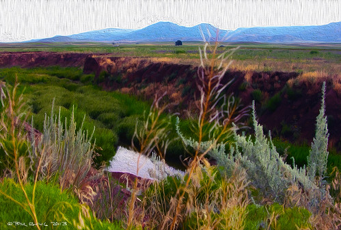 """""""Agua Fria River, Mingus Mountain in Distance""""--digital oil from photo"""