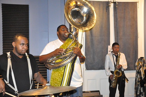 Errol Marchand, Bennie Pete, and Clarence Slaughter of Hot 8 Brass band. Photo by Kichea S Burt.