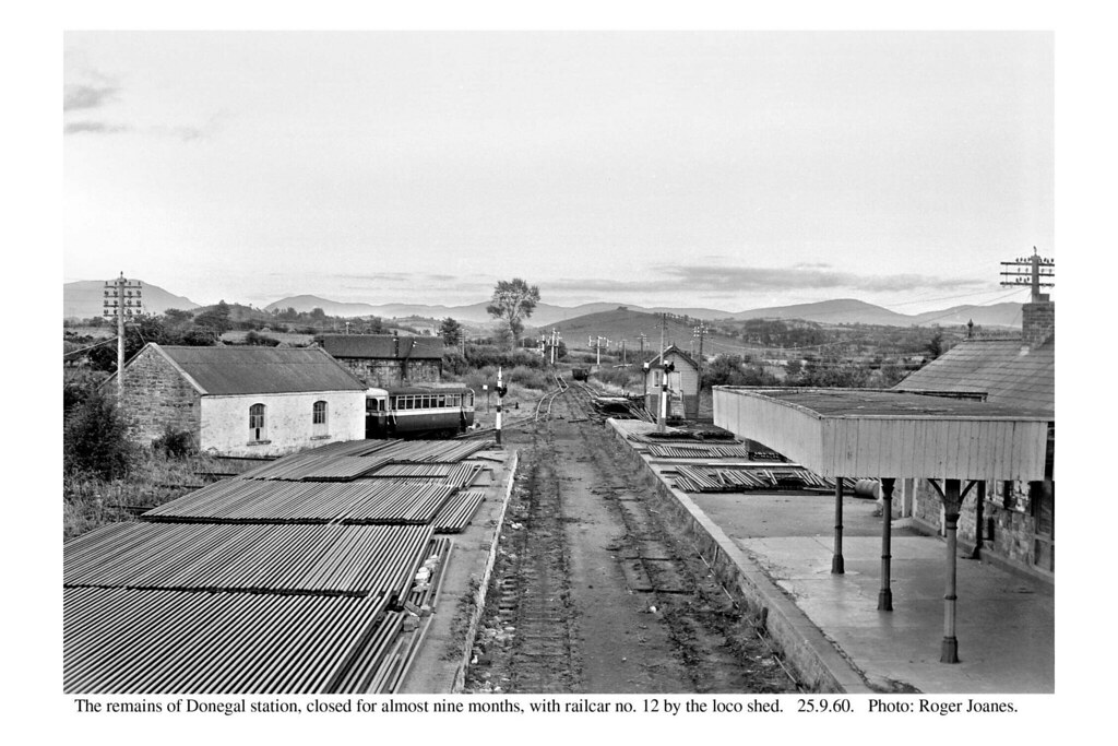 Donegal. Remains of the station, with railcar 12. 25.9.60