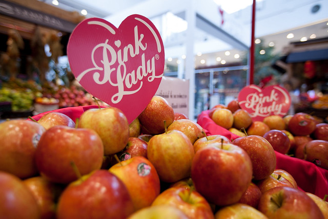 Pink lady apples on display - 012