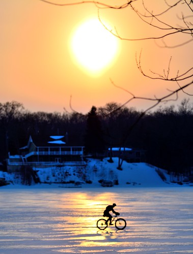 winter sunset reflection ice bike mi spring fat tire westlake solid march2104