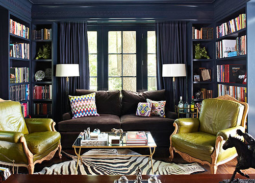 Navy + green: Lacquered walls painted Benjamin Moore