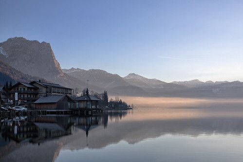 morning houses mountain lake sunrise canon dawn austria day clear grundlsee styria 1740l 09nd 5dmkiii