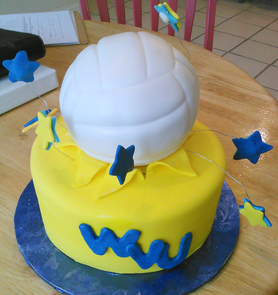 Incredible West Virginia University Custom Birthday Cake With Volleyball Tier Personalised Birthday Cards Beptaeletsinfo