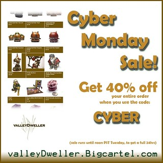 "Use the code ""CYBER"" to get 40% off your order at valleyDweller.bigcartel.com from now through noon PST tomorrow. #cybermonday #sale #40percentoff 