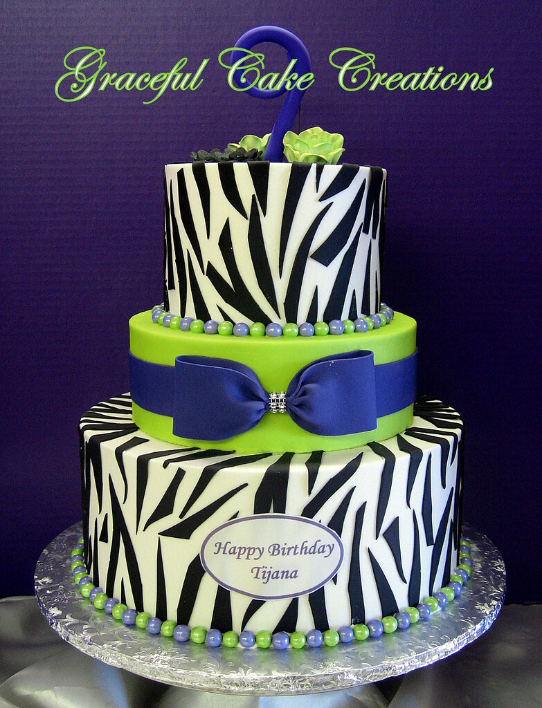 Sensational Purple Lime Green And Zebra Print Birthday Cake Grace Tari Flickr Personalised Birthday Cards Veneteletsinfo