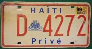 HAITI 1999 ---PRIVATE LICENSE PLATE