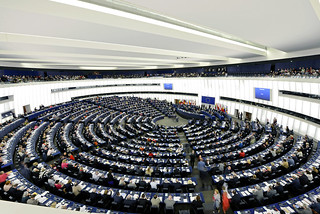 A birdlike view of the plenary chamber | by European Parliament