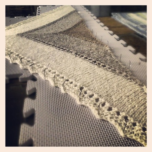 Shetland triangle blocking. #shawl #FO #handspun #handknit #natural | by gwen.erin