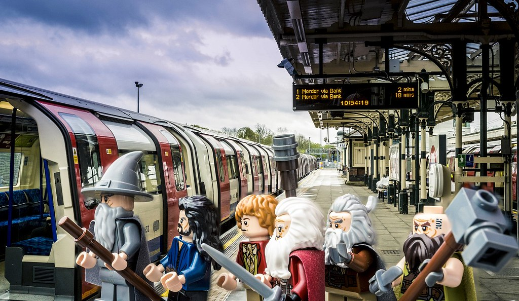 Mordor via Bank : Bilbo Baggins and buddies take the specially rebranded Northern Line to celebrate the release of LEGO The Hobbit, the videogame, this Friday