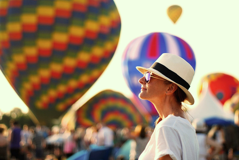 Panama hat & white t-shirt at a balloon festival - Not Dressed As Lamb
