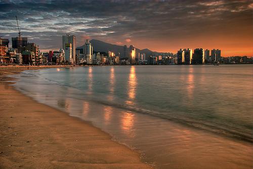 beach sunrise korea busan 대한민국 부산