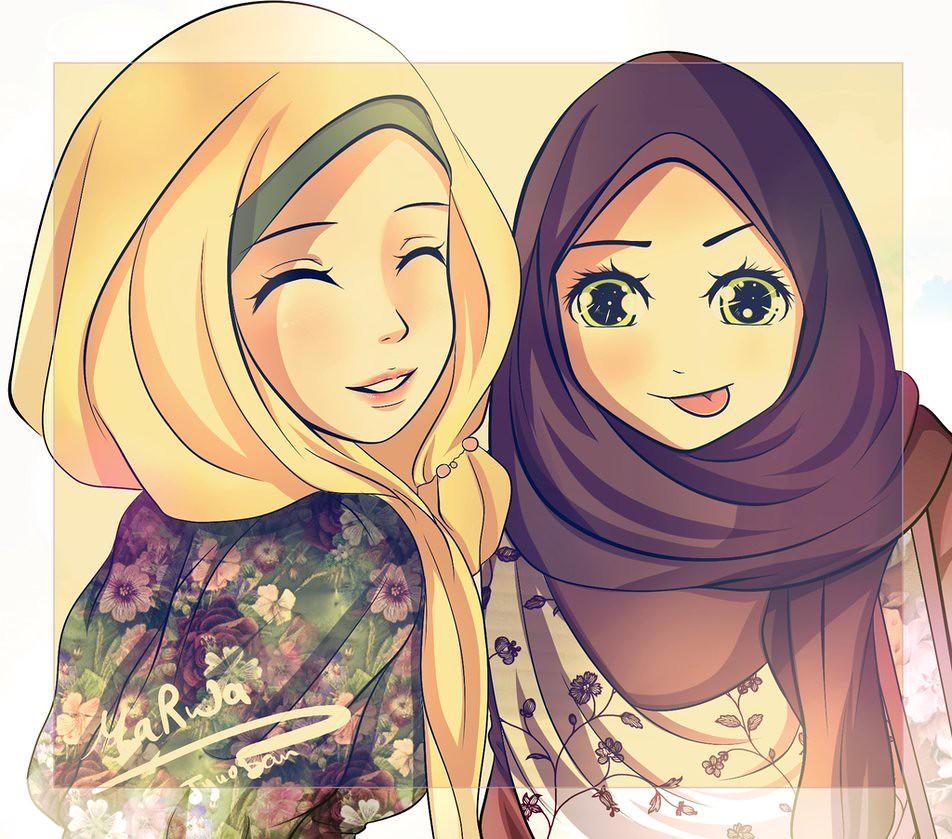 Gambar Kartun Muslimah Lucu Bertudung