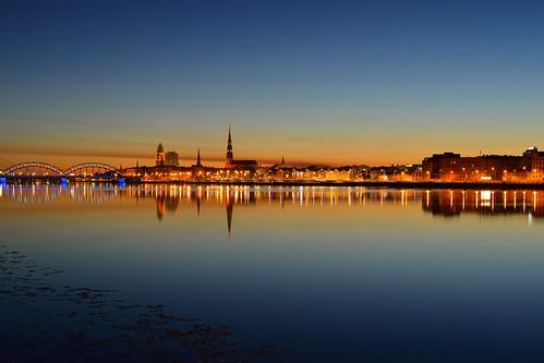 city summer reflection water night river town latvia silence riga midnightsun whitenight daugava polarday